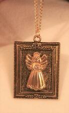 CUTE!  Rectangular Frame Rose Topped Sculpted Angel Goldtone Pendant Necklace