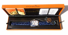 NIB! STUHRLING ORIGINAL WALDORF TONNEAU SWISS QUARTZ  BLUE LEATHER MENS WATCH