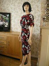 12 PETITE 70'S MIDI PENCIL DRESS SPLIT FRONT FLORAL RED GREEN SUMMER WEDDING