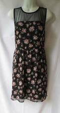 Forever 21 Romantic Black Pink Floral Skater Dress Sheer Top No Sleeve Size L