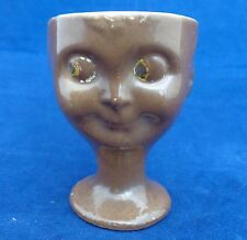 Unusual Art Deco Novelty Egg Cup Googly Eyed Doll or Child's Head Brown Glaze