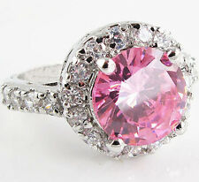1210 Lady/Women's Pink Sapphire 14KT White Gold Filled Wedding Ring Gift size 7