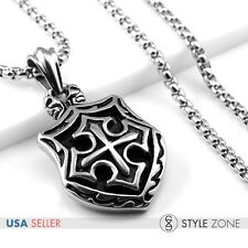 Men's Stainless Steel Gothic Cross Shield Pendant w Smooth Box Link Necklace Q19