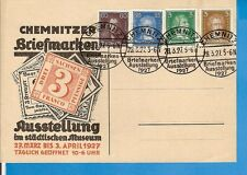 DR Bes. 28.3.27 CHEMNITZ Briefmarken Ausstellung 1927, 4 x klarer S.-Stpl.