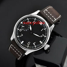 Parnis 44mm Black Dial Brushed Case Luminous hand winding 6497 movement Watch