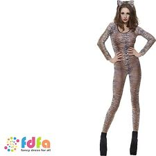 TIGER PRINT CATSUIT BODYSTOCKING ladies womens fancy dress costume clubwear