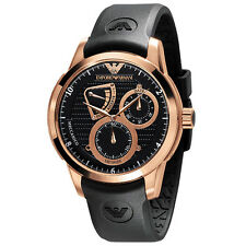 Original Emporio Armani Mens Watch AR4619 Rose-Gold Rubber Strap New Meccanico