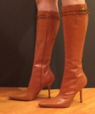 Christian Dior Boots Knee High Heels Leather Pointy Toe Whisky Brown 39 C Fits 8