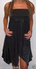 VICKY MARTIN strapless black loose satin lace beaded dress 8 10 BNWT maternity ?