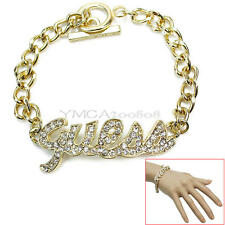 Korean Style Rhinestone Quell Letter Charm Bracelet Chain Gold Fashion Jewelry