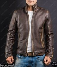 Mens Vintage Handmade Brown Cafe Racer Real Leather Jacket with Faded Seams