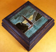 LOVELY VICTORIAN CERAMIC TILE POT STAND IN CHARACTER HEAVY OAK FRAME