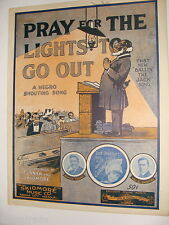 Pray For the Lights To Go Out Negro Shouting Song 1916 sheet music Turpin cover
