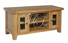 SOLID CHUNKY WOOD RUSTIC OAK LARGE WIDESCREEN TV LCD PLASMA CABINET STAND UNIT