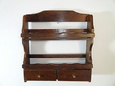 VINTAGE WOOD WALL SPICE RACK WITH 2 DRAWERS