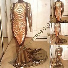DRAG QUEEN MORGAN WELLS FAB. GOLD SEQUIN FRONT SPARKLE DRESS! SIZE 12-16