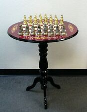 Round Briarwood Chess Table  Wine Floral Inlay Pewter Camelot Chessmen