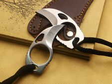 NEW MINI All Steel Knife Cute Finger Hole Camping Fishing Bear Claw Tool Gift
