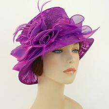 New Woman Church Hat Kentucky Derby Hat Organza Lace Dress Hat 1687 Purple