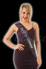 IT'S ITS MY BIRTHDAY Party BLACK & SILVER Sash for A Happy Birthday Diamante
