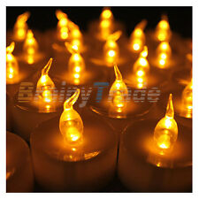 24pcs LED Amber Yellow Tea Light Candle Light Lamp with Timer For Party Church