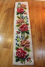 """Vintage Finished Needlepoint Wall Hanging Runner 38"""" Long Red Pink Roses Floral"""