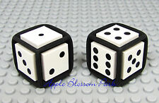NEW Lego Black & White GAME DICE Set- Rubber & Plastic w/Dot 2x2 Decorated Tiles
