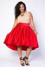 New Plus Red Elegant Chic Satin Hi Low High Waisted Skirt With Bow Size 2X