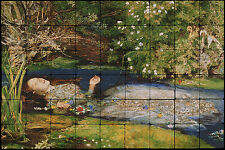36x24 John Millais, Ophelia Mural Tumbled Marble Tiles for Bathroom