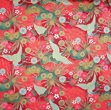 Japanese Cotton Fabric Remnant 48x55cm Red Crane Floral Pine PC870