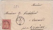Lettre Suisse Belmont 1873 pour Geneve Cover Switzerland