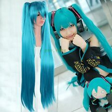 New Vocaloid Hatsune Miku Cosplay Wig + 2 Ponytails Blue Hair Full Wig