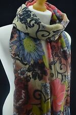 Watercolour Floral&Stencil Print Ladies Scarf Women Shawl Wrap Hijab Pashmina