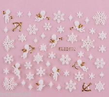 Christmas Nail Art Stickers Decals Gold White Snowflakes Stars Rhinestones 257