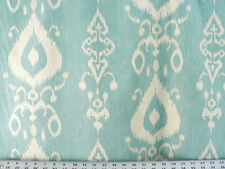 Drapery Upholstery Fabric 100% Cotton Ikat - Ivory Beige on Sky Blue
