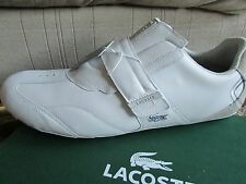 NEW LACOSTE SWERVE AG WHITE SHOES MENS 17 WHITE LEATHER FASHION SNEAKERS