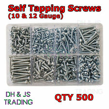 Assorted Box of Large Self Tapping Screws (10 and 12 Gauge) BZP Qty 500 Tappers
