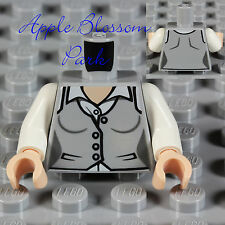 NEW Lego Female Minifig GRAY SUIT VEST TORSO Batman Lois Lane Girl w/White Shirt