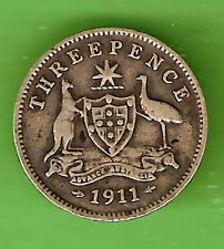 1911  AUSTRALIAN STERLING SILVER THREEPENCE COIN