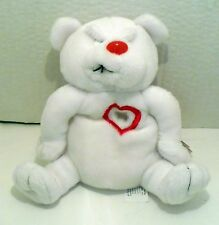 1999 VALENTINES MEANIES HEARTLESS BEAR WHITE PLUSH BEANIE NWT 6""