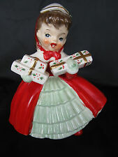 Vintage 1956 Napco Christmas Caroler Girl Planter Holding Presents AX1690PB