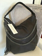 Madison West large bag hobo satchel tote purse coffee brown gray pewter chain