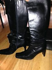 Bebe Black Shiny Patent Italian Leather Knee High Boots Sz 8.5 Quincy Square Toe