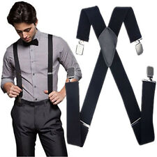 Women Men Elastic Suspenders Black Adjustable Braces X-Back Leather Clip-on