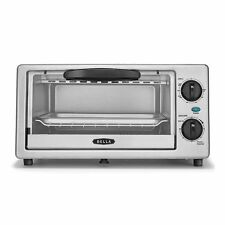 """BELLA 4 Slice Toaster Oven w/ Crumb Tray 14413Fits 9"""" Pizza Bake Broil Timer NEW"""