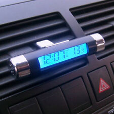 Blue Backlight Clip-on Clock Thermometer Calendar Car Auto Bicycle Digital LCD*1