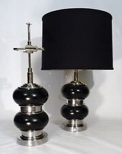 PAIR OF ART DECO / BAUHAUS LEATHER NICKEL BULBOUS FORM TABLE LAMPS LIGHTS