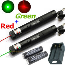 10 miles Military Green + Red 1mw Laser Pointer Pen Light Lazer Beam Power Focus