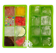 """2x ICE Maker Large Cube Square Tray Molds Whiskey Ball Cocktail Big 2""""x2"""" GREEN"""