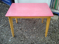 Red Formica Top Table Retro Vintage Rectangular Kitchen Dining.